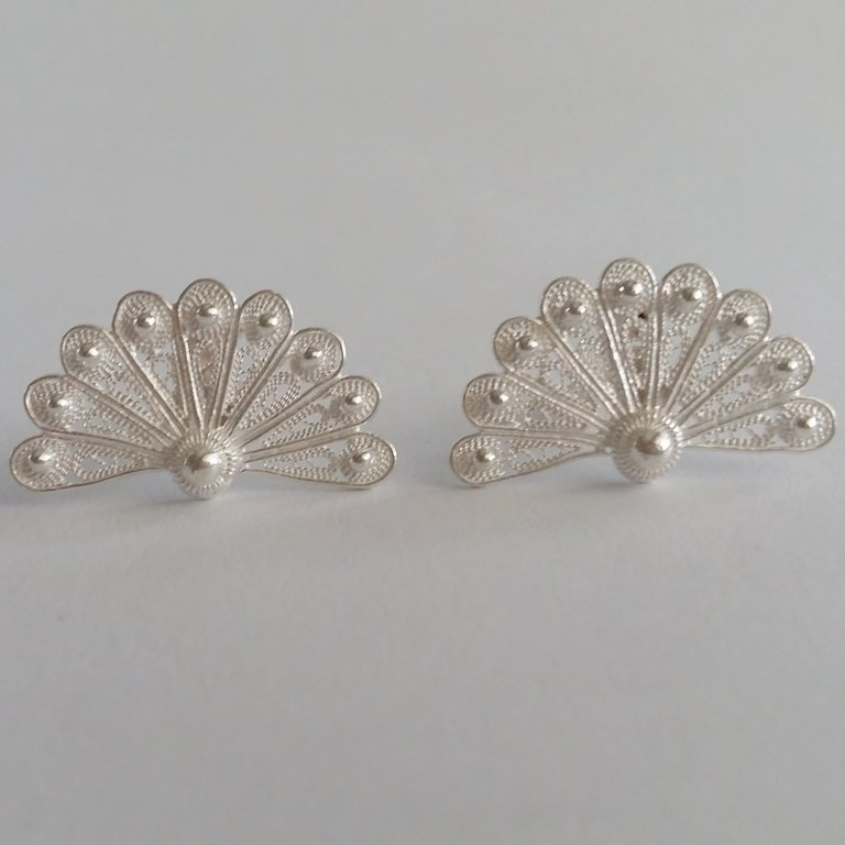 Filigree Earrings Abanico Blanco