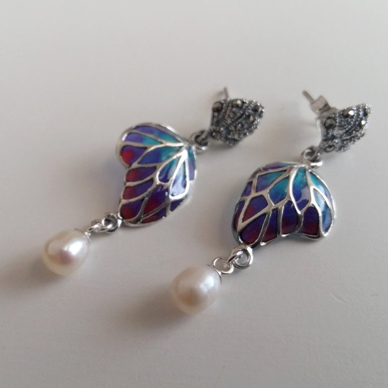 Stained Glass Earrings Mariposa con Perla