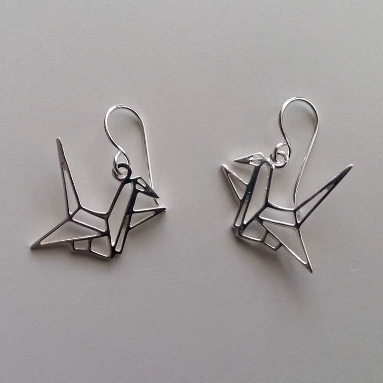 Silver Earrings Origami Crane