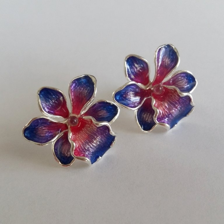 Silver Earrings with Enamel Orquidea Milagrosa