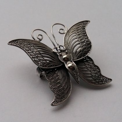 Sterling Silver Butterfly Brooch Mariposa Dark