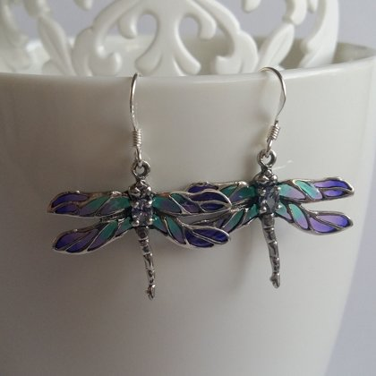 Dragonfly Earrings Libelula Azul Claro