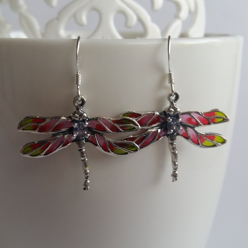 Dragonfly Earrings Libelula Rosa