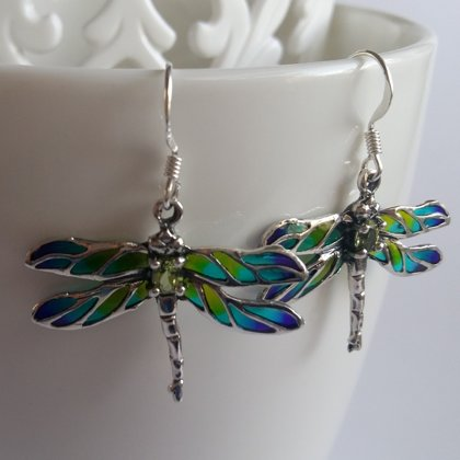 Dragonfly Earrings Libelula Turquesa