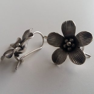 Silver Earrings Flor de Felicidad