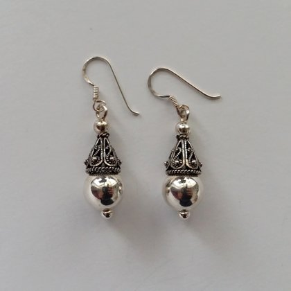 Sterling Silver Earrings with Oriental Look Maribel