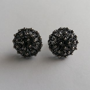 Earrings with Charro Element Roseton, dark