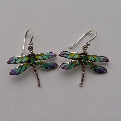 Vitrāžu spāres auskari Libelula Verde Azul