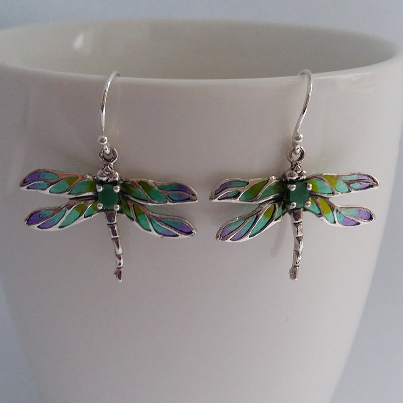 Stained Glass Dragonfly Earrings Libelula Verde Azul, with Emerald