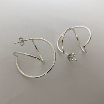 Silver Earrings Circle Infinito Hoops