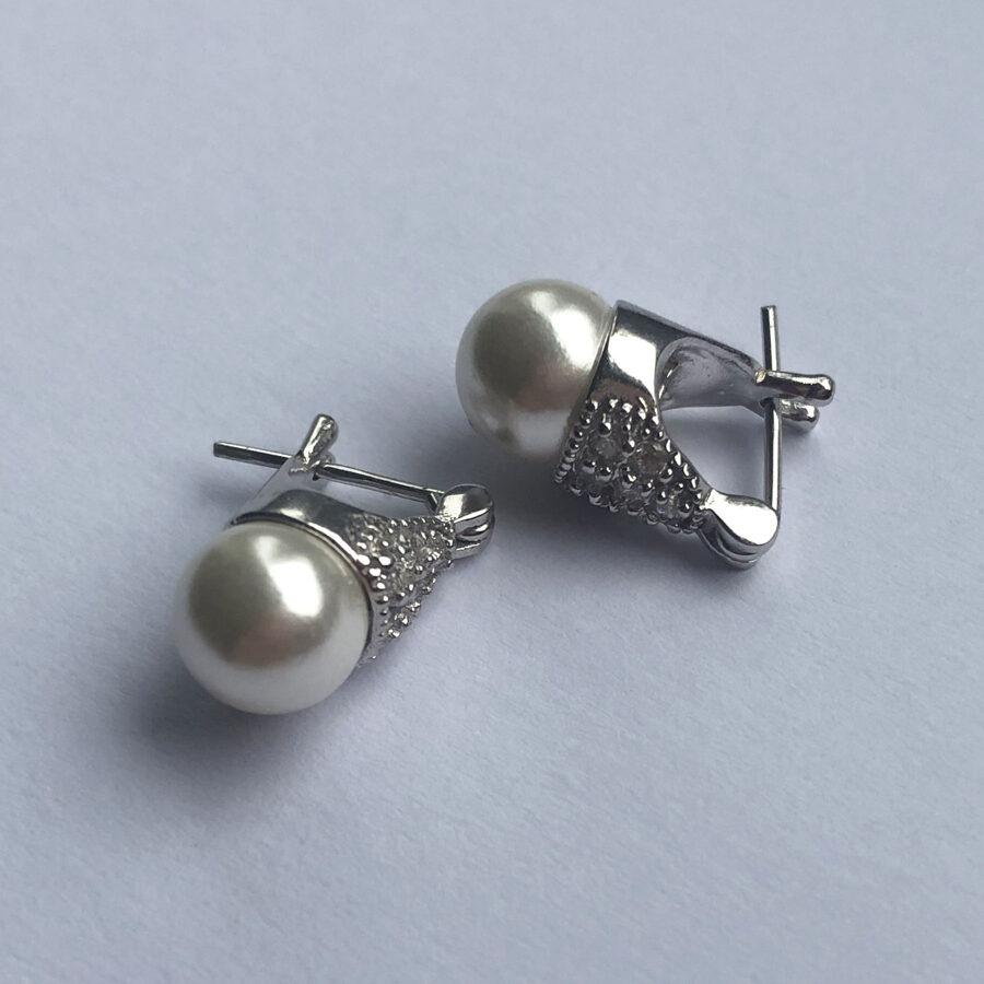 Pearl Earrings Lady D Zircon Small