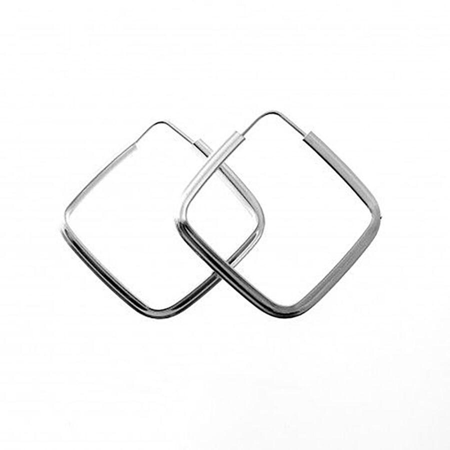 Silver Hoop Earrings Aro Rombo