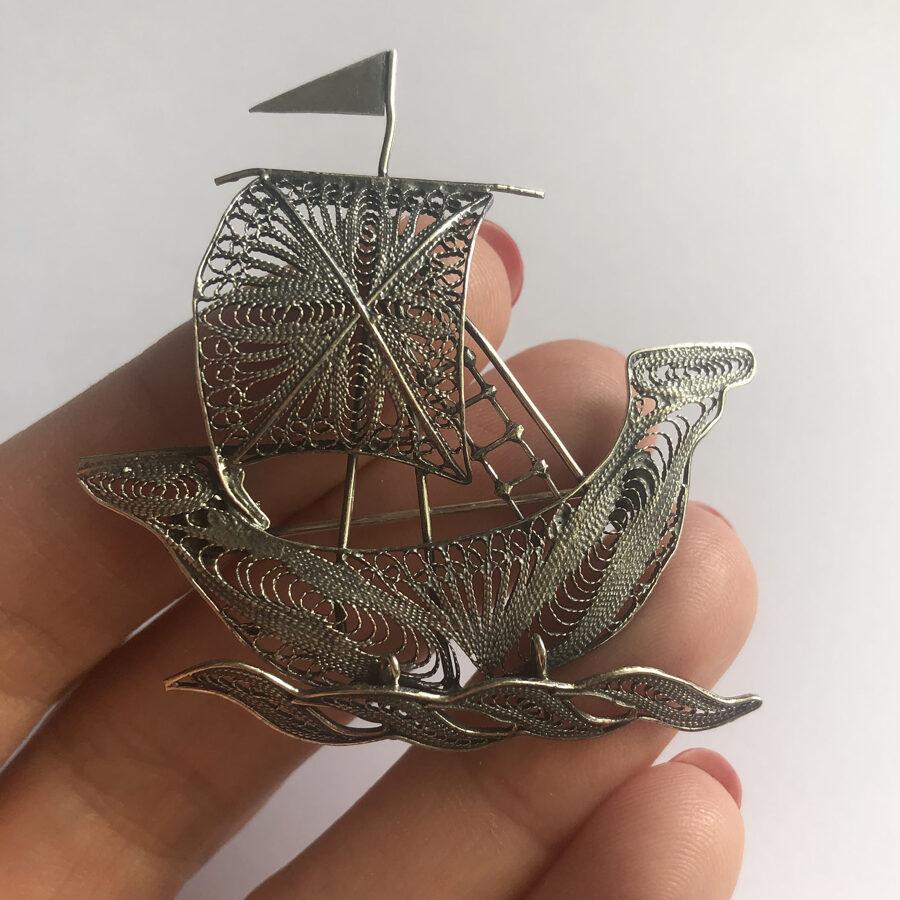 Silver Ship Brooch Barco