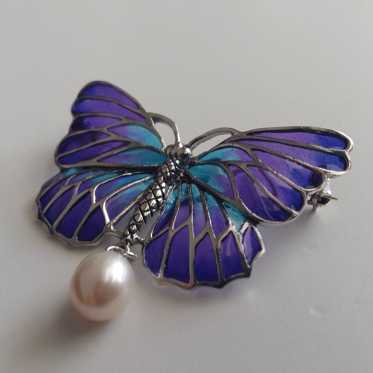 Stained Glass Brooch Mariposa Azul
