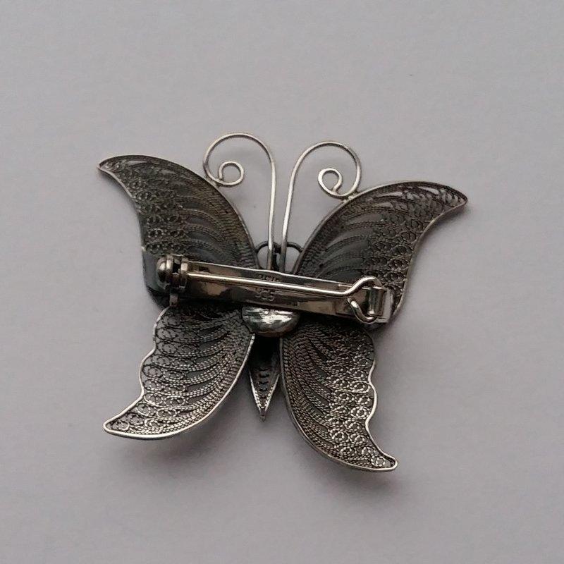 Sterling Silver Butterfly Brooch Mariposa Dark