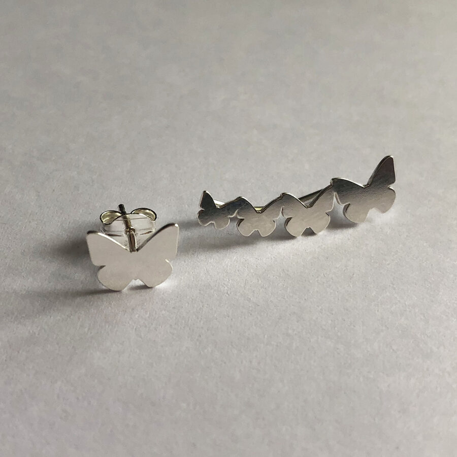 Silver Climber Earrings Trepador Mariposa