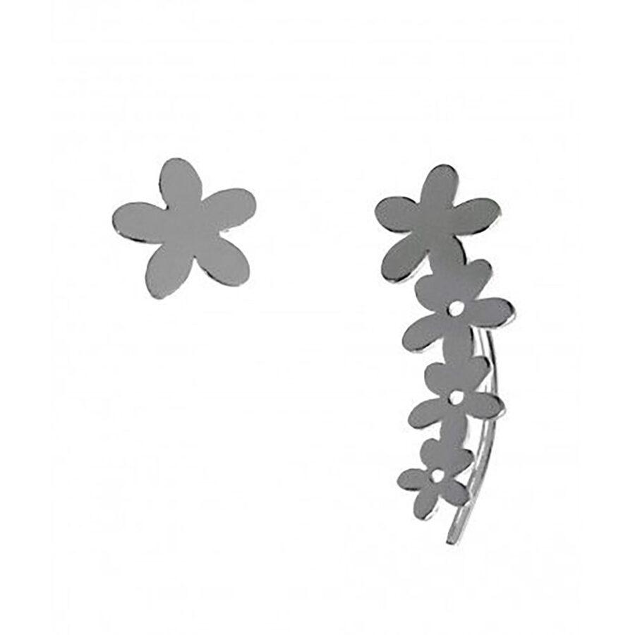 Silver Climber Earrings Trepador Flores