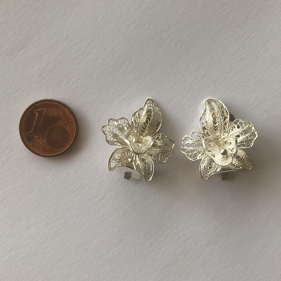 Silver Clip-On Earrings Orquideas