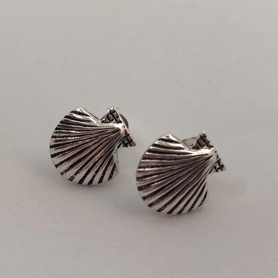 Silver Shell Earrings Concha Studs