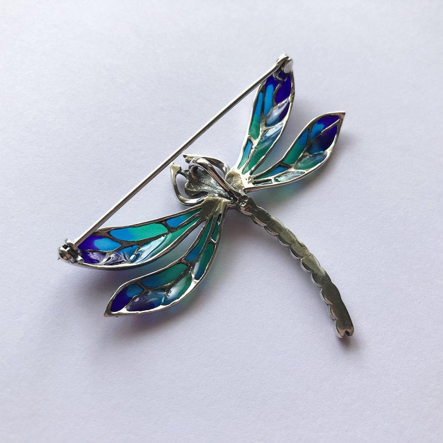 Dragonfly Brooch Libelula Azul Marino