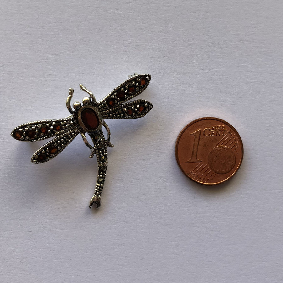 Dragonfly Brooch Libelula Granate