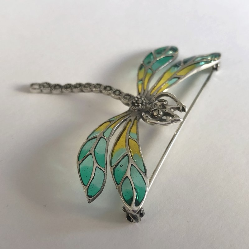 Stained Glass Dragonfly Brooch Libelula Menta