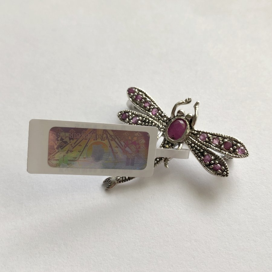 Dragonfly Brooch with Ruby Libelula Rubi