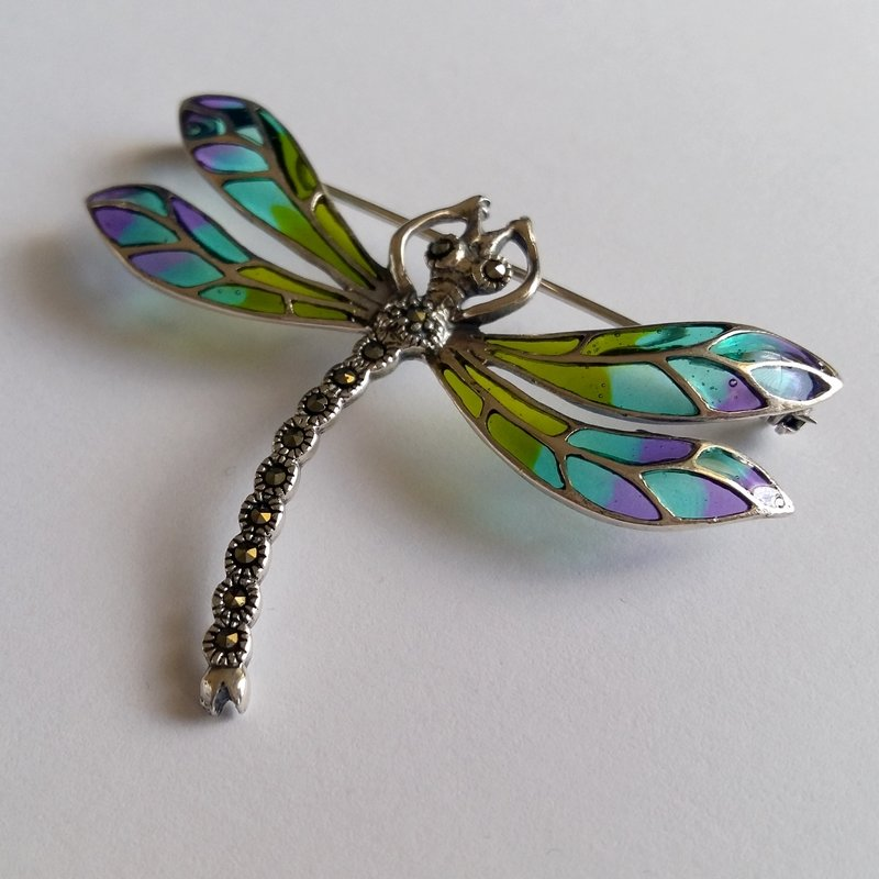 Stained Glass Dragonfly Brooch Libelula Verde Azul