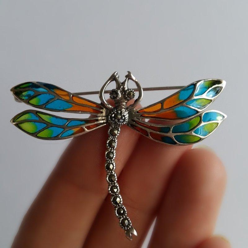 Dragonfly Brooch Libelula Naranja