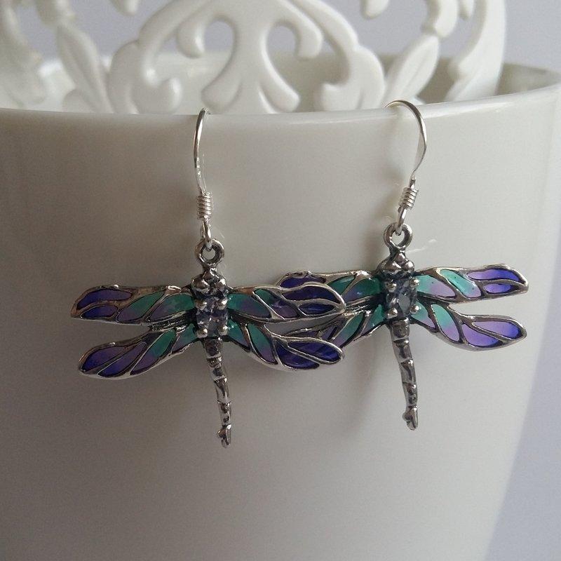 Vitrāžu spāres auskari Libelula Azul Claro
