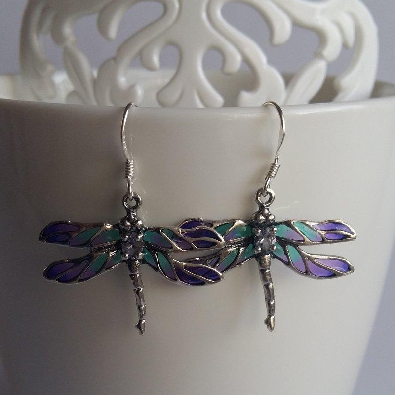 Dragonfly Earrings Libelula Azul Claro