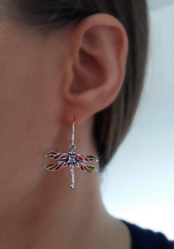 Dragonfly Earrings Libelula Rosa