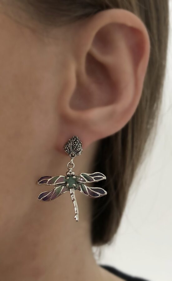 Dragonfly Earrings Libelula Azul Marcasita