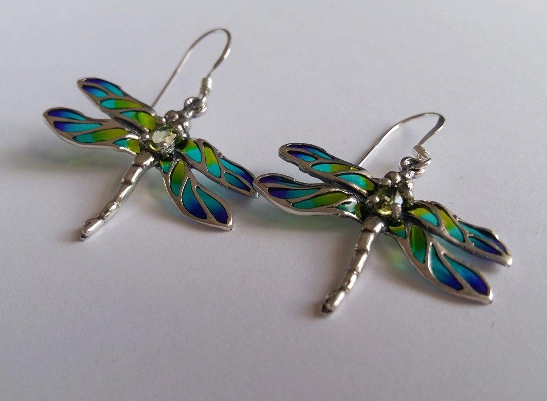Vitrāžu spāres auskari Libelula Turquesa