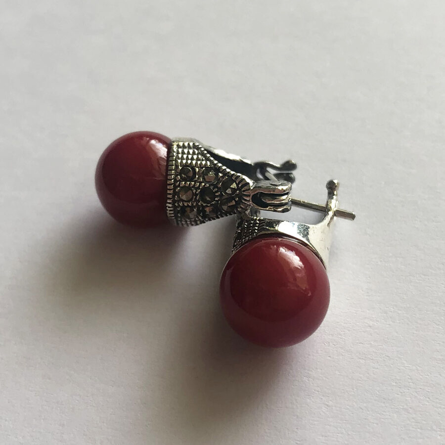 Marcasite Earrings Lady D in Red