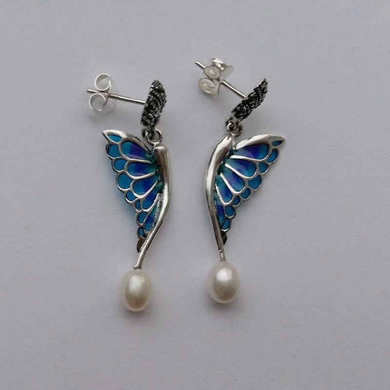 Stained Glass Earrings Alas de Mariposa Azul Intenso