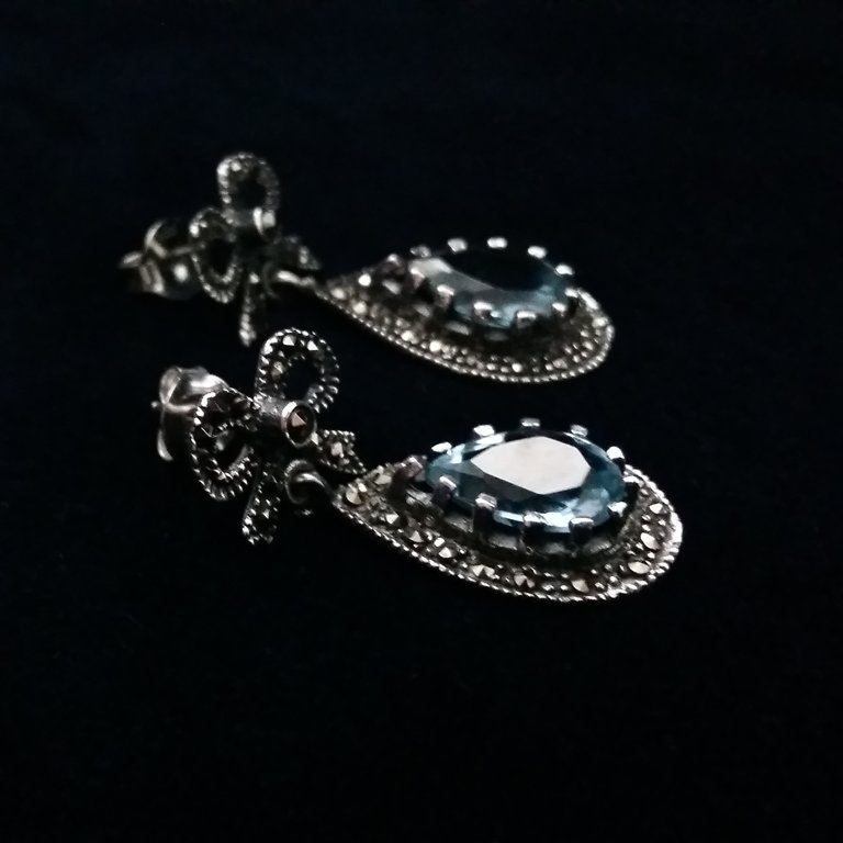 Aquamarine Earrings Aguamarina Ribbon