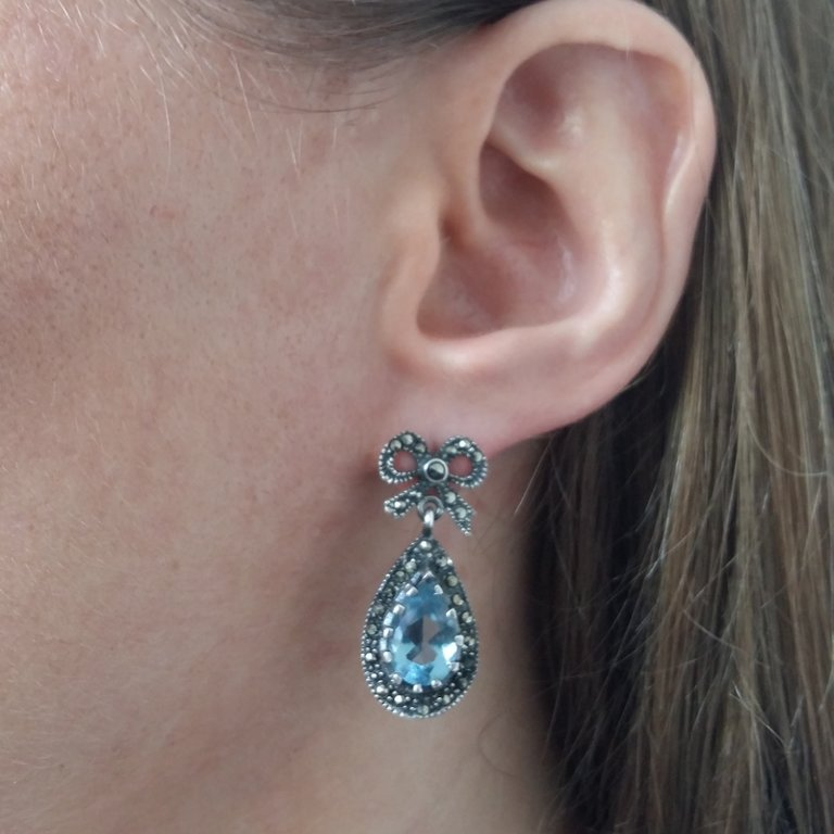 Aquamarine Earrings Aguamarina Ribbon