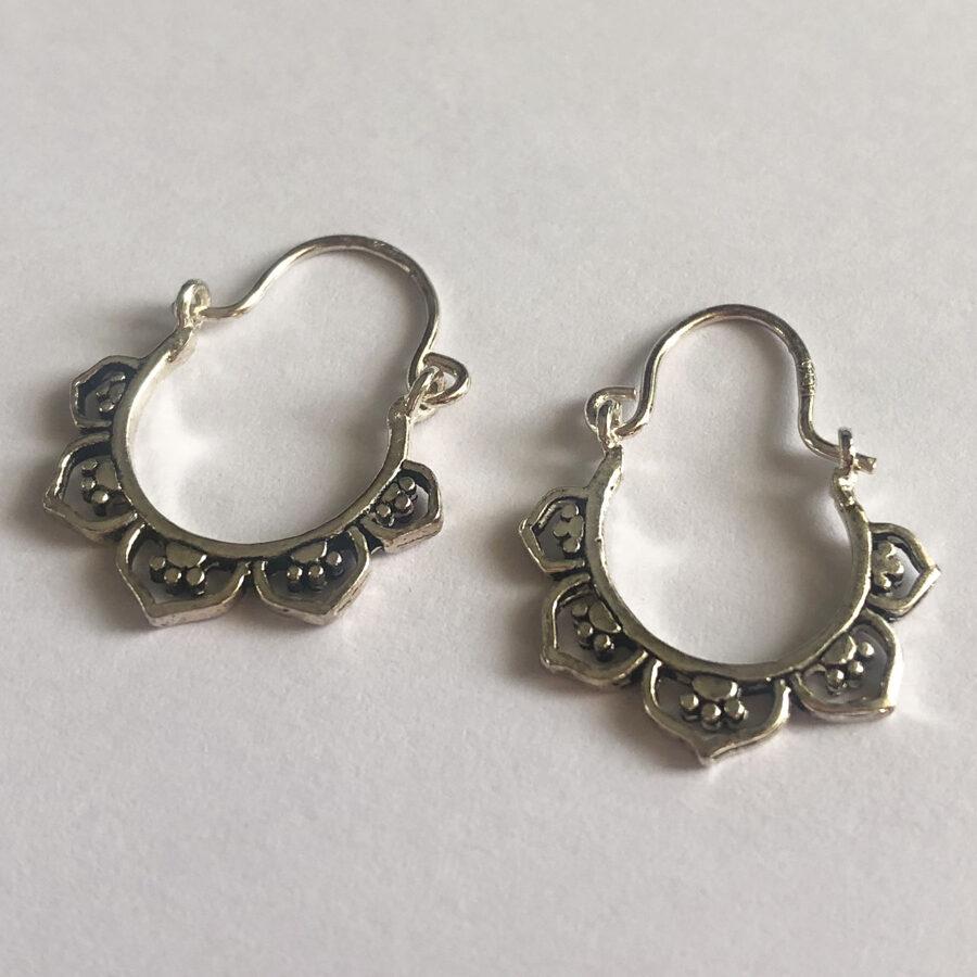 Silver Hoop Earrings Aro Boho Small