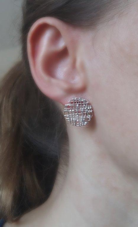 Silver Earrings Botones