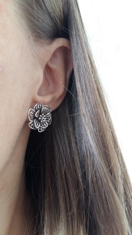 Filigree Earrings Flor de Alegria Dark