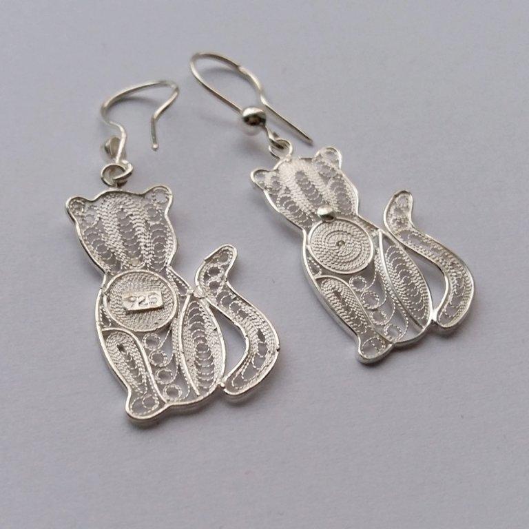 Filigree Cat Earrings Gato Filigrana