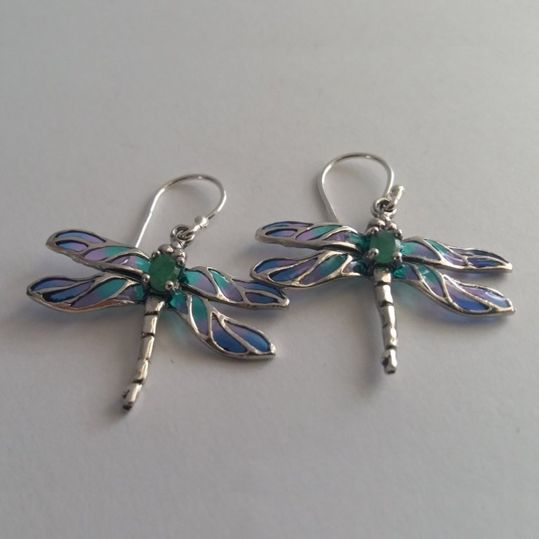 Stained Glass Dragonfly Earrings Libelula Azul, with Emerald