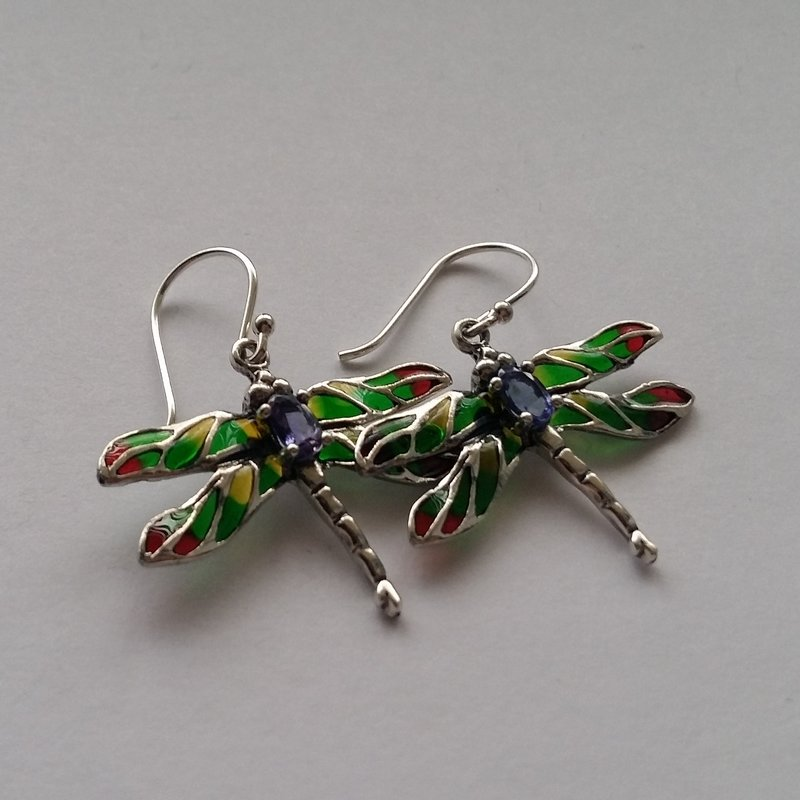Stained Glass Dragonfly Earrings Libelula Verde