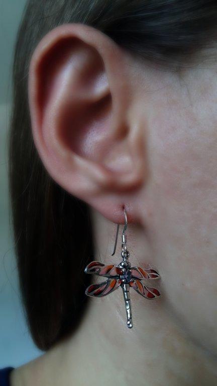 Stained Glass Earrings Libelula Violeta