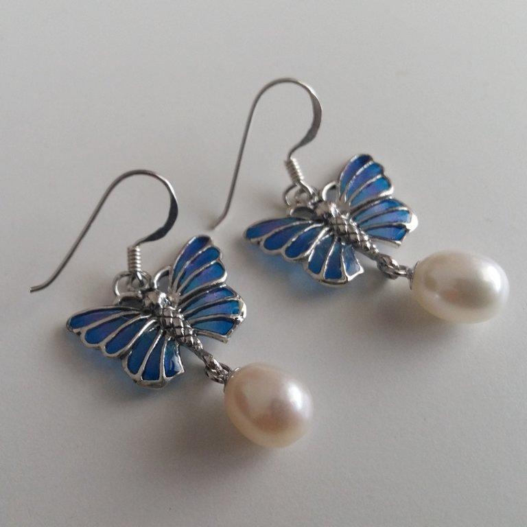 Vitrāžu auskari Mariposa Azul