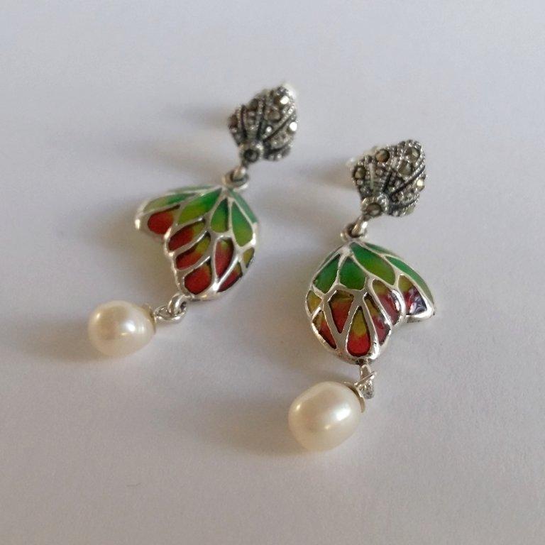 Stained Glass Earrings Mariposa con Perla Verde