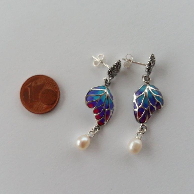Stained Glass Earrings Mariposa con Perla