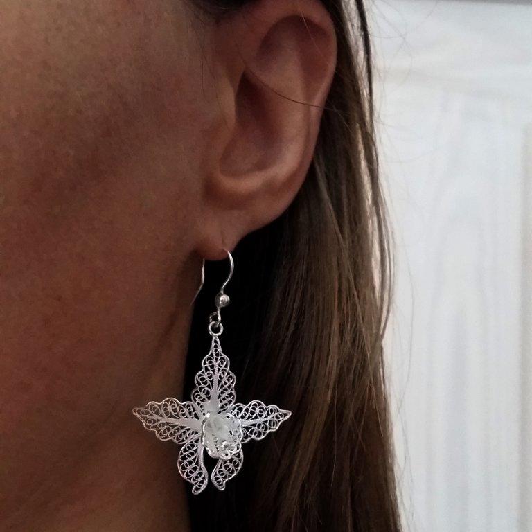 Filigree Earrings Orchids, light