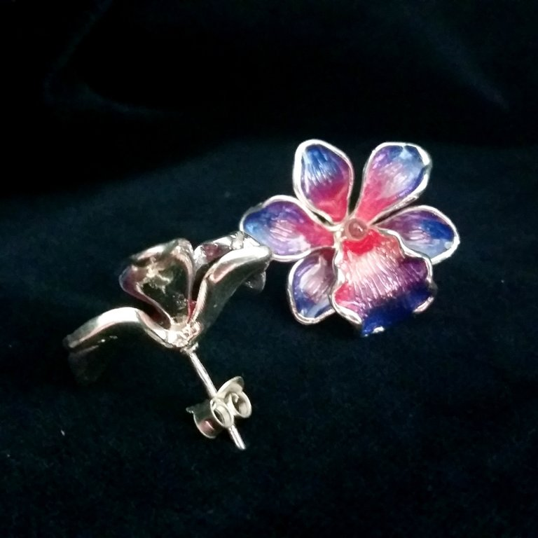Silver Earrings with Enamel Orquidea Milagrosa